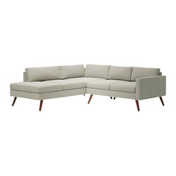 Truemodern - Dane Corner Sectional Sofa, Dove Grey - Dane Corner Sectional Sofa by TrueModern designed by Edgar Blazona. With its Danish styled wood legs and intricately stitched back cushions, the Dane Corner Sectional Sofa is an all-around showpiece of functional and attractive modern design. Perfect for use in the corner of your living area or even in the center of a room, this corner sectional has details like cording and super-slim arms to give it character - and you won't find a sectional with more gorgeously shaped and finished legs. This modern sectional sofa delivers the look you love and the comfort you expect.