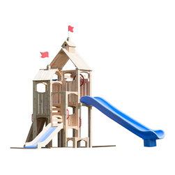 CedarWorks - CedarWorks Frolic 19 Swingset - Every day is a perfect day for play — at least we think so. With a compact design, multiple deck heights, and countless playful features including a Firefighter's Pole, Cedar Slide, Scoop Slide, and Climbing Wall, Frolic 19 is always ready for a play day. Are you?