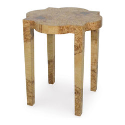 Kathy Kuo Home - Cider Olive Burl Rustic Lodge Rustic Side Table - Rustic wood with a sleek, Modern silhouette elevates this petite side table to an intriguing focal point.  The plantation hardwood framework has four tapered legs under an Old World heraldic-shaped tabletop. Blending design styles creates a versatile piece for your living room or bedroom.
