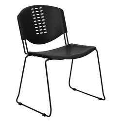 Flash Furniture - Hercules Series 400 Lb. Capacity Black Plastic Stack Chair - Hercules Series 400 lb. Capacity Black Plastic Stack Chair with Black Powder Coated Frame Finish