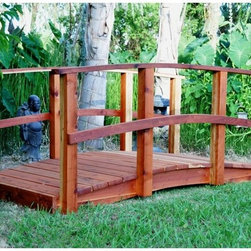 Redwood Garden Bridges - Redwood Garden Bridges Country Style Bridge - 6CSB-S - Shop for Gates and Bridges from Hayneedle.com! Are you looking to bridge the gap to beautiful design in your garden? The Redwood Garden Bridges Country Style Bridge is the perfect way to do it. Available in warm redwood this bridge will become the centerpiece in your yard's path. If a creek pond or gap exists in your garden let this country-style bridge join the sides. Even if there's no gap you can place the bridge anywhere to add beauty and continuity to an outdoor space. Length options: 6 feet 8 feet 10 feet 12 feet 14 feet 16 feet About Redwood Garden Bridges Founded in 1996 Redwood Garden Bridges is a leader in designing and building several different styles of redwood bridges. They build and ship predesigned bridges and also offer custom designing for customers with particular ideas or spaces in mind. Redwood Garden Bridges' mastery of building has also led to other products such as wheelchair ramps too.