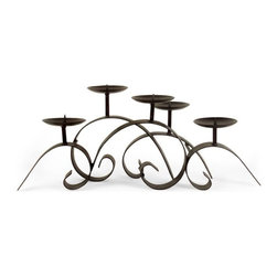 "IMAX - Candleholder - Impressive iron candle centerpiece, holds 3 in pillar  Item Dimensions: (11.25""h x 25""w x 9"")"