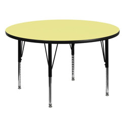 "Flash Furniture - 42'' Round Activity Table with Yellow Top and Adjustable Pre-School Legs - Flash Furniture's Pre-School XU-A42-RND-YEL-T-P-GG warp resistant thermal fused laminate round activity table features a 1.125"" top and a thermal fused laminate work surface. This Round Laminate activity table provides a durable work surface that is versatile enough for everything from computers to projects or group lessons. Sturdy steel legs adjust from 16.125"" - 25.125"" high and have a brilliant chrome finish. The 1.125"" thick particle board top also incorporates a protective underside backing sheet to prevent moisture absorption and warping. T-mold edge banding provides a durable and attractive edging enhancement that is certain to withstand the rigors of any classroom environment. Glides prevent wobbling and will keep your work surface level. This model is featured in a beautiful Yellow finish that will enhance the beauty of any school setting.; Round Activity Table; Pre-School Table; Scratch and Stain Resistant Surface; 1.125"" Thick Thermal Fused Yellow Laminate Top; 1.125"" Thick Thermal Fused Yellow Laminate Top; Black Edge Band; 16 Gauge Tubular Steel Legs; Black Powder Coated Upper Legs and Chrome Lower Legs; Legs Adjust in 1"" Increments; Self-Leveling Nylon Floor Glides; Recommended Seating Capacity: 5 Children; 2 Year Limited Warranty; View All Sizes and Finishes; Weight: 55 lbs; Overall Dimensions: 42""W x 42""D x 16.125"" - 25.125""H"