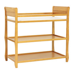 DaVinci - DaVinci Rowan Infant Changing Table - The durable oak of this gender-neutral DaVinci changing table is a beautiful shade of honey that complements many different nursery themes. Two storage shelves offer plenty of room for storing diapers,wipes,and lotion for your little one.