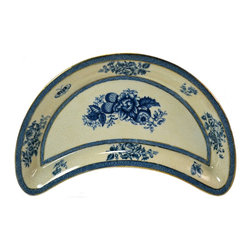 Booths Silicon China for Liberty & Co - Consigned 6 Liberty Blue and White Crescent Shaped Plates by Booths - Elegant set of 6 small crescent shaped side plates with blue and white berries by Booths, made for Libberty; antique English Edwardian, early 1900s.