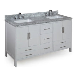 Kitchen Bath Collection - California 60-in Double Sink Bath Vanity (Carrara/White) - This bathroom vanity set by Kitchen Bath Collection includes a white cabinet, soft close drawers, self-closing door hinges, double thick Italian Carrara marble countertop (an incredible1.5 inches thick at the edge!), double undermount ceramic sinks, pop-up drains, and P-traps. Order now and we will include the pictured three-hole faucets and a matching backsplash as a free gift! All vanities come fully assembled by the manufacturer, with countertop & sink pre-installed.