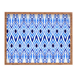 Inova Team -Modern Bamboo Blue Tray - Dinner trays of yesteryear were never this cool. Not only can this patterned beauty hold your organic dinner, but it'll also serve as a clever styling tool. Pile up magazines, books, and a knickknack or two: you've found a cool new way to show off a few of your favorite things.