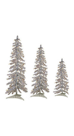 Silver Alpine Tinsel Christmas Tree Set - 2 ft., 3 ft., 4 ft. Artificial Christmas Trees