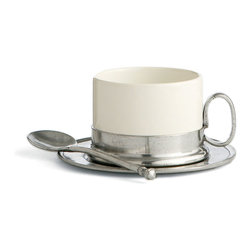 Tuscan (Caffe) Cappuccino Cup and Saucer with Spoon - Ringed in weighty pewter, the Tuscan Cappuccino Cup and Saucer with Spoon provides everything needed for a single cup of coffee or tea. Elegant and individual for keeping on your desk at work, superb for use in the home, this white ceramic mug takes on a weighty, bottom-heavy feel that's appealingly crafted, suggesting historic simplicity and attention to practicality.