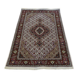1800-Get-A-Rug - 250 kpsi Wool and Silk Ivory Tabriz Mahi Oriental Rug Handmade Sh19814 - Our fine Oriental hand knotted rug collection consists of 100% genuine, hand-knotted and hand-woven rugs from Persia, China, and other areas throughout Asia. Classic, traditional, and offered in a wide range of elaborate designs, every handmade rug is guaranteed to serve as a beautiful and striking element in any interior setting.