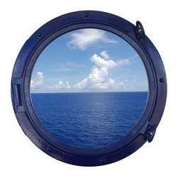 """Handcrafted Model Ships - Navy Blue Porthole Window 24"""" - Port Hole Window - This Navy Blue Porthole Window 24"""" adds sophistication, style, and charm for those looking to enhance rooms with a nautical theme. This boat porthole has a sturdy, heavy and authentic appearance, yet it is made of wood and fiberglass to lower the weight for use as nautical wall decor. This porthole window makes a fabulous style statement in any room with its classic round frame, five solid rivets and two dog ears surround the perimeter of the porthole frame."""