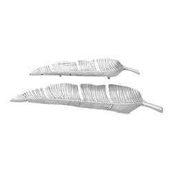Woodland Imports - Modern Chrome Silver Finish Leaf Design Set of 2 Tray Accent Home Decor 26973 - Modern chrome silver finish leaf design set of 2 decorative unique tray accent living, dining, and family room decor