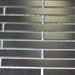Sample - Metal Silver Stainless Steel 3/8x4 Stick Brick Tiles Sample - sample-METAL SILVER STAINLESS STEEL 1/4X4 STICK BRICK TILES SAMPLE  SAMPLE   Samples are intended for color comparison purposes, not installation purposes.-Glass Tiles -