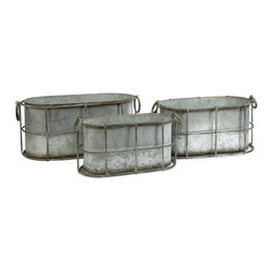 iMax - Chandler Metal Tubs, Set of 3 - This set of three galvanized tubs feature a cage like design that gives a shabby chic look to any room.