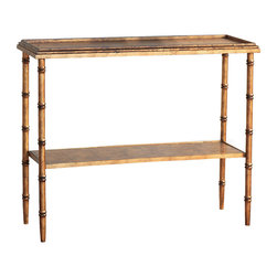 Kathy Kuo Home - Doheny Hollywood Regency Style Gold Faux Bamboo Console - Hollywood Regency style has everyone starstruck. This faux bamboo console brings all the glitz and glamour of the silver screen wherever you place it, whether in an entryway, behind a sofa or in a master bath.