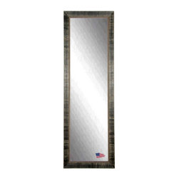 Rayne Mirrors - American Made Tuscan Ebony 25 x 63 Full Body Mirror - This Tuscan inspired floor mirror features a weathered ebony wood block overlay design and inner scroll detailing.  Aged & distressed like you've owned it for years.   Each Rayne mirror is hand crafted and made to order with American products.  All hardware included for vertical or horizontal hanging, or perfect to lean against a wall.