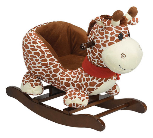 Charm Co. - Gerry Giraffe Rocker - Give your toddler or preschooler something soft and cuddly to hang onto with this giraffe rocking toy. Your baby will soon be lying cheek to cheek with the plush fabric of the giraffe's head. This lovable animal guarantees your child a smooth ride with a gentle rocking motion designed to lull little ones to sleep so that you can have a quiet afternoon all to yourself. Rest assured that the high backrest and easy-grip handles will provide for all necessary safety considerations.