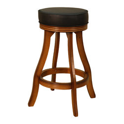 "American Heritage - American Heritage Designer Bar Stool in Vintage Oak w/ Black Vinyl - Bar Stool in Vintage Oak w/ Black Vinyl belongs to Designer Collection by American Heritage This contemporary classic is sure to enhance any room.  The sleek profile of the wooden legs accented with the fluted apron is sure to compliment your trendy décor.  The 3"" black vinyl seat cushion is sure to have your guest sitting for hours.  Barstool (1)"