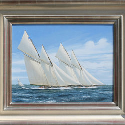 "Terry Bailey Original Marine Painting Nautical Decor Sailing Seascape Sailboat - We are offering a beautifully rendered original oil painting by marine artist Terry Bailey.  It is titled ""Rainbow and Bona,"" and it is 14"" H x 18"" W unframed, and 21.5"" H x 25.5"" W. framed.  More information about the artist can be found on our website, palmavenuefineart.com"