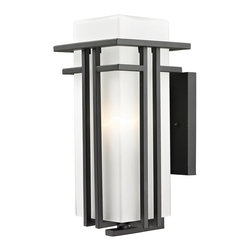 Z-Lite - Z-Lite Abbey Outdoor X-ZBRO-M055 - The geometric lines of the Abbey family combine well with contemporary home styling as well as homes in the craftsmen style.  This medium wall mount fixture is made of steel  and finished in black with matte opal glass.