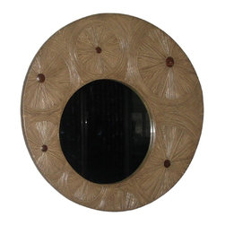 Jeffan International - Clara Round Sunburst Mirror in Natural Rattan w Wood Accents - Made of natural rattan. laminated in the sunburst design pattern. Cocosun finish. Made in Indonesia. No assembly required. 39 in. W x 2 in. D x 39 in. H (33 lbs.)