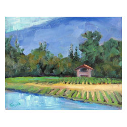 Vineyard Home, Original, Painting - A local vineyard with gorgeous atmosphere and great wine. Plein air painted on a perfect day! This painting can be sold with or without the frame.