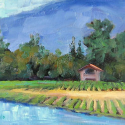 """""""Vineyard Home, Painting"""" - A local vineyard with gorgeous atmosphere and great wine. Plein air painted on a perfect day! This painting can be sold with or without the frame."""