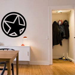StickONmania - Star in Circle #1 Sticker - A cool vinyl decal wall art decoration for your home  Decorate your home with original vinyl decals made to order in our shop located in the USA. We only use the best equipment and materials to guarantee the everlasting quality of each vinyl sticker. Our original wall art design stickers are easy to apply on most flat surfaces, including slightly textured walls, windows, mirrors, or any smooth surface. Some wall decals may come in multiple pieces due to the size of the design, different sizes of most of our vinyl stickers are available, please message us for a quote. Interior wall decor stickers come with a MATTE finish that is easier to remove from painted surfaces but Exterior stickers for cars,  bathrooms and refrigerators come with a stickier GLOSSY finish that can also be used for exterior purposes. We DO NOT recommend using glossy finish stickers on walls. All of our Vinyl wall decals are removable but not re-positionable, simply peel and stick, no glue or chemicals needed. Our decals always come with instructions and if you order from Houzz we will always add a small thank you gift.