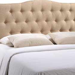 Annabel Queen Fabric Headboard - Instill soft tones and a meaningful design with the Annabel tufted arch headboard. Deep inset buttons adorn this magnificent centerpiece for your bedroom decor. Annabel is made from fiberboard, plywood and fine polyester upholstering for a construction that is both lightweight and long-lasting. Carefully crafted with flowing contours and a richly rewarding design, sleep peacefully while supported by this exceptional headboard. Fits queen size beds.