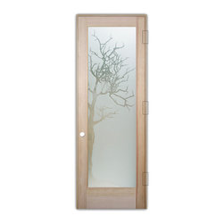 "Sans Soucie Art Glass (door frame material T.M. Cobb) - Interior Glass Door Sans Soucie Art Glass Winter Tree 3D Private - Sans Soucie Art Glass Interior Door with Sandblast Etched Glass Design. GET THE PRIVACY YOU NEED WITHOUT BLOCKING LIGHT, thru beautiful works of etched glass art by Sans Soucie!  THIS GLASS PROVIDES 100% OBSCURITY.  (Photo is View from OUTside the room.)  Door material will be unfinished, ready for paint or stain.  Satin Nickel Hinges. Available in other wood species, hinge finishes and sizes!  As book door or prehung, or even glass only!  3/8"" thick Tempered Safety Glass.  Cleaning is the same as regular clear glass. Use glass cleaner and a soft cloth."