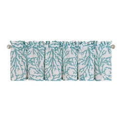 "C F Enterprises - Cora Blue Unlined Valance - The Cora Blue Unlined Valance is part of a bedding collection by C F Enteprises in 100% Cotton. The colors are sea blue on white. Each valance measures 72"" x 15.5"" and is suitable for 1 window."