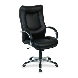 Lorell - Lorell Stonebridge Leather Executive High-Back Chair - Leather Black Seat - Executive high-back chair is upholstered in black leather with heavily stitched and tufted back and seat. Back is tailored to provide good lumbar support. Loop arms are also upholstered in leather. Aluminum five-star base has plastic scuff guards and casters. Functions include pneumatic seat-height adjustment (19 to 22-1/2), 360-degree swivel, tilt, tilt tension and tilt lock. 6-3/4 thick seat cushion size is 22-1/2 wide x 20-7/8 long. The 7-1/2 thick back cushion is 21-3/4 wide x 31-1/2 long. High-back chair meets the CA117 fire-retardant standard.