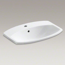 KOHLER - KOHLER Cimarron(R) drop-in bathroom sink with single faucet hole - The Cimarron collection combines the best of traditional and contemporary design for a versatile look that complements a range of bathroom styles. Beveled edges and simple lines enhance the uniquely shaped basin.