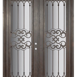 "Tivoli 72x96 Wrought Iron Double Door 14 Gauge Steel - ""SKU#    PHBFTDR4Brand    GlassCraftDoor Type    ExteriorManufacturer Collection    Buffalo Forge Steel DoorsDoor Model    TivoliDoor Material    SteelWoodgrain    Veneer    Price    8350Door Size Options      $Core Type    one-piece roll-formed 14 gauge steel doors are foam filled  Door Style    TraditionalDoor Lite Style    Full LiteDoor Panel Style    Home Style Matching    Mediterranean , Victorian , Bay and Gable , Plantation , Cape Cod , Gulf Coast , ColonialDoor Construction    Prehanging Options    PrehungPrehung Configuration    Double DoorDoor Thickness (Inches)    1.5Glass Thickness (Inches)    Glass Type    Double GlazedGlass Caming    Glass Features    Insulated , TemperedGlass Style    Glass Texture    Clear , Glue Chip , RainGlass Obscurity    Door Features    Door Approvals    Wind-load RatedDoor Finishes    Three coat painting process"