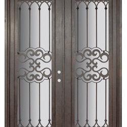 """Tivoli 72x96 Wrought Iron Double Door 14 Gauge Steel - """"SKU#PHBFTDR4BrandGlassCraftDoor TypeExteriorManufacturer CollectionBuffalo Forge Steel DoorsDoor ModelTivoliDoor MaterialSteelWoodgrainVeneerPrice8350Door Size Options  $Core Typeone-piece roll-formed 14 gauge steel doors are foam filled  Door StyleTraditionalDoor Lite StyleFull LiteDoor Panel StyleHome Style MatchingMediterranean , Victorian , Bay and Gable , Plantation , Cape Cod , Gulf Coast , ColonialDoor ConstructionPrehanging OptionsPrehungPrehung ConfigurationDouble DoorDoor Thickness (Inches)1.5Glass Thickness (Inches)Glass TypeDouble GlazedGlass CamingGlass FeaturesInsulated , TemperedGlass StyleGlass TextureClear , Glue Chip , RainGlass ObscurityDoor FeaturesDoor ApprovalsWind-load RatedDoor FinishesThree coat painting process"""