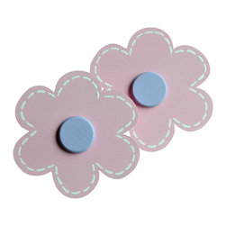 """Little Elephant Company - Michelle Daisy Quilt Clips set of 2 - Beautiful quilt clips that transform your treasured baby quilts and comforters into charming hanging artwork for your child's room.    Very easy to use.  ***     This is a hand painted set of two (2) 6 petal daisy quilt clips in light pink with white stitches and wisteria centers.       These quilt clips are perfect for flower or garden themed bedding sets.     Each daisy measures 3.5 in.    How many quilt clips do I need?  - For a quilt that is still stiff and new, you will only need 2 quilt clips for up to 36 inches wide. Many people will do 3 quilt clips just for the look, though. For a quilt that has been washed and is pliable, 2 clips will be sufficient for up to 36 inches, but you may want 3 clips to help keep the center from sagging. For a quilt 36 to 42 inches wide, use 3 to 4 clips. For a quilt 42 to 50 inches, use 4 to 5 clips.    How do the quilt clips work?  - The only hardware is needed is a long nail, approximately 1 1/2"""" to 2 1/2"""" in length.  - Measure how far apart you would like the clips to be.  - Decide how high on the wall they will be placed and mark your first spot. Using a level, measure out and mark the second spot.  - Place your nails into the wall at a 45 degree angle. IMPORTANT: If your nail is not at a 45 degree angle, the clip may slip off the nail.  - Clip the quilt and slide the back of the clip over the nail.    What are the clips made of?  - Designs are made of layered wood. A few of our designs also have layered felt.   - Clips on the back are a sturdy plastic so as not to damage your fabric."""