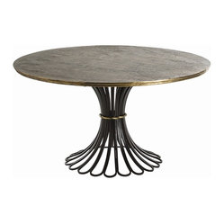 Arteriors - Draco Dining Table By Arteriors - Rustic and refined combine in this dramatic dining table.The base is fashioned from loops of heavy-duty iron and crowned with a patinated wood top. Brass accents add a touch of glamour to this bold, bravura composition.