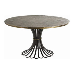 Arteriors - Draco Dining Table - Rustic and refined combine in this dramatic dining table.The base is fashioned from loops of heavy-duty iron and crowned with a patinated wood top. Brass accents add a touch of glamour to this bold, bravura composition.