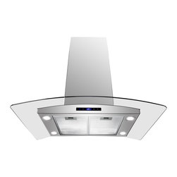 "AKDY - AKDY AG-ZAIS2 Euro Stainless Steel Island Mount Range Hood, 36"", Duct/Pipe - Merging form and function beautifully, every model includes innovative ultra quiet operation features, powerful air circulation, and contemporary styling. Refined form and industry-leading functionality are sure to complement any kitchen, as well as the individuals who cook in them. Hi-tech meets high style with a minimum of fuss with the GVAIS2 model. Powerful 870 cfm blowers, soft-2-touch technology controls, three speed levels, quad LED lights, and a delay off function instill appliance envy in even the most sophisticated kitchens. Centrifugal blowers automatically liquefy cooking residue without complex filters. Simply spray detergent into the no-stick blowers while on low speed, and the residue will collect for easy disposal. Nice!"