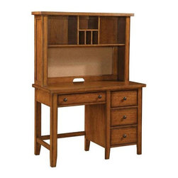 Winners Only - Desk w Hutch in Cognac Finish - Desk with storage drawers. Hutch with shelves. Desk: 44 in. W x 21 in. D x 30 in. H. Hutch: 44 in. W x 11 in. D x 30 in. H