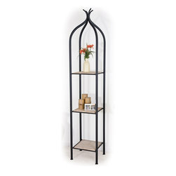 Mathews & Company - Milan Single Etagere - The Milan Single Etagere is a one-of-a-kind, hand crafted decor piece that will add an extra dimension of beauty and refinement to your home. Wrought Iron Etageres like this can be traced back at least as far as late 18thcentury France. The beautiful wrought iron frame can be finished in natural black, rust, aged pewter, or aged bronze. You also have shelf options which include Glass, Marble, or Copper.