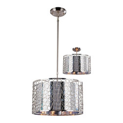 Three Light Chrome Maylar Metal Shade Drum Shade Pendant - With a definite retro influence contrasting with a contemporary execution, this large pendant truly makes a remarkable statement. This mirrored inner shade is surrounded by a very modernly textured outer shade, and the fixture is finished in brush nickel. This fixture comes complete to be hung as a pendant or semi flush mount, and also includes a telescoping rod to ensure the fixture is hung to the user's specification.