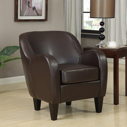 None - Bedford Bonded Leather Chair - Warm your room with this clean-lined, contemporary leather chair that is made of soft, buttery brown bonded leather. The leather chair's extra padded seat cushion and shaping provide both high-quality comfort as well as modern style.