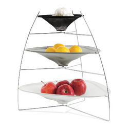 Gia Tier Tray - I love the sleek modern feel of these trays. They're a wonderful way to create a sculptural presentation of fruit or other foods while storing them in plain sight.