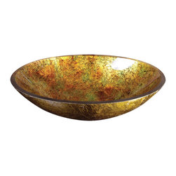 Yosemite Home Decor - Sunrise II Oval Glass Basin - Metallic green, gold and orange blend with textured exterior