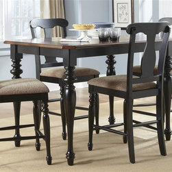 Liberty Furniture - Liberty Furniture Abbey Court 5 Piece Gathering Table Set in Black and Cherry Fi - Elegantly styled and casually proportioned  Abbey Court works in a dining room as well as a kitchen dining combination. Black and cherry is a versatile finish for the home and is a nice accent to other wood tones throughout the house. Tables feature canted corners and heavy turned legs. Fancy face cheery veneers accent the table top. Two chair options feature napoleon styling with an x back and a saber leg or a splat back and a turned leg.  Both chair seats are upholstered in sand chenille. The buffet features two top drawers  a center shelf with wine bottle storage and glass stemware holders flanked by two wooden doors for concealed storage. The sliding glass door hutch has x grid onlays as well as a bead board back panel with wood framed glass shelves. Touch lighting features a center can light.Collection Features: French & English Dovetail ConstructionWood-on-Wood Drawer GlidesFelt Lined Top DrawersSatin Nickel Cup & Drop Ring HardwareHeavy Turned LegsCanted Corner AccentsFancy Face Cherry Veneer TopsIncludes One 18 Inch Leaf (T3872)Upholstered in Sand ChenilleGlass Stemware HoldersWine Bottle StorageSliding Doors on HutchLighted HutchIncludes One 18 Inch Leaf (G5454)