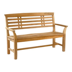 """Mandalay Bench - By Kingsley Bate - A scooped seat and elegant back make this Japanese inspired 54"""" bench a perfect complement to the finest garden designs."""