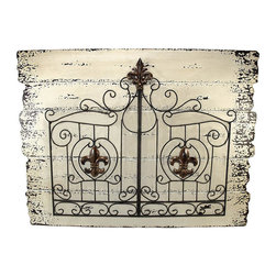 Metal Fleur de Lis Double Gate on Wood Planks Wall Hanging - This double gate wall hanging adds a unique accent to your home or restaurant. The wrought iron double gate is decorated with bronze fleur de lis accents and is attached to a wooden board, painted to look like distressed planks of wood. This piece measures 31 1/2 inches long, 23 3/4 inches tall, 2 inches deep, and mounts to the wall with 2 nails or screws.
