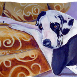 Caroline's Treasures - Harlequin Natural Great Dane Fabric Standard Pillowcase Moisture Wicking Materia - Standard White on back with artwork on the front of the pillowcase, 20.5 in w x 30 in. Nice jersy knit Moisture wicking material that wicks the moisture away from the head like a sports fabric (similar to Nike or Under Armour), breathable performance fabric makes for a nice sleeping experience and shows quality.  Wash cold and dry medium.  Fabric even gets softer as you wash it.  No ironing required.