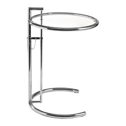 Eileen Gray Table-Temp - When you first glance at this innovative table, you might do a double take. From the illusion-inducing glass tabletop (yes, there is one) to the (nearly) circular base, it's almost what's not there that makes it all the more brilliant.